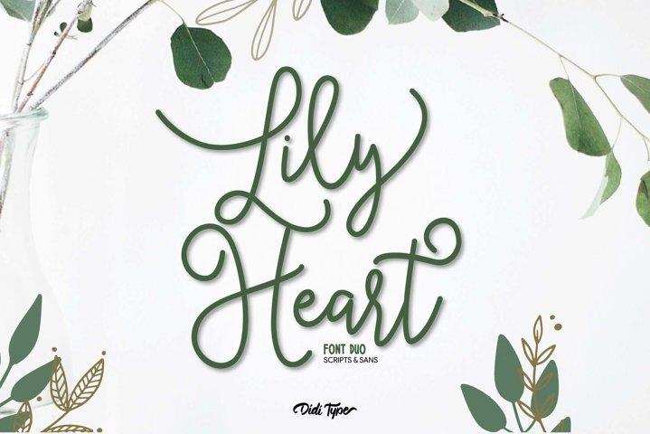 Lily Heart Font Duo | Script & Sans