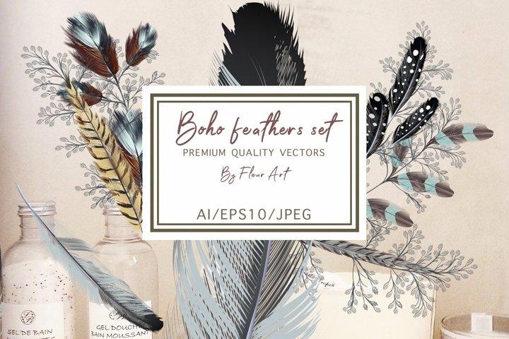 Bohemian mood feathers vector set