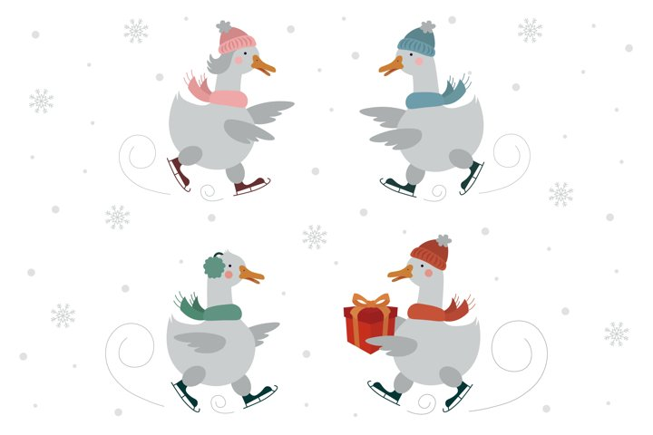 Christmas Skating Geese Collection / Clipart, Christmas Card