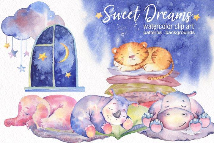 Watercolor Cute Animals. Sweet Dreams
