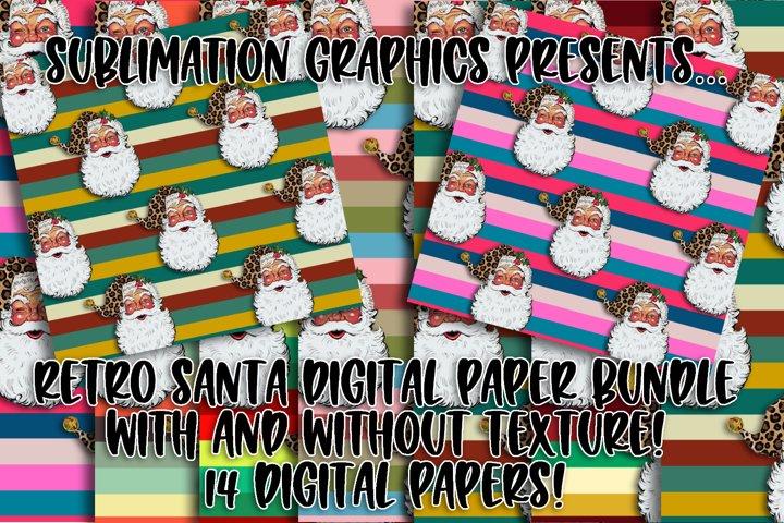 Retro Santa Christmas Digital Paper Bundle