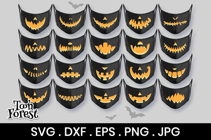 20 Pumpkin mouths SVG, DXF, EPS, PNG cut files for face mask
