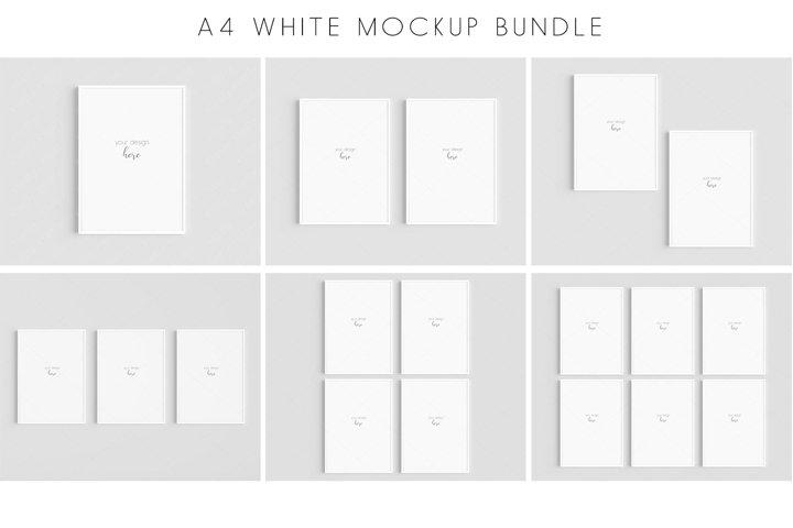 A4 White Frames Mockup Bundle JPG PNG PSD Smart Object /M136