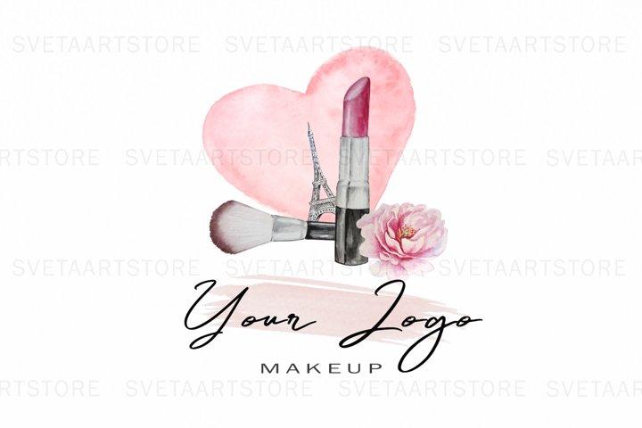 Premade Logo, Watercolor Cosmetic Logo Design