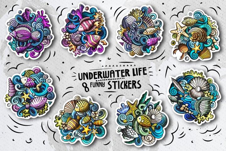 8 Funny Sea Life Vector Doodle Stickers Set