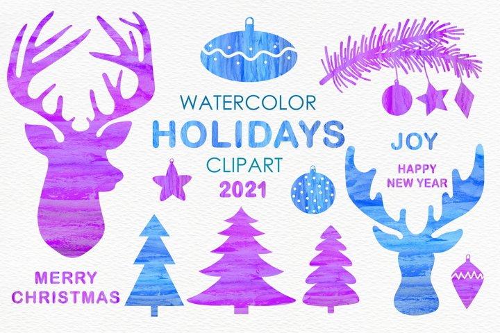 Watercolor Christmas Clipart 2021 -Winter Art PNG, JPEG