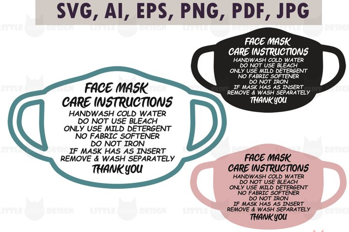 Mask Care Card Template, Mask Card Instruction, Clip Art
