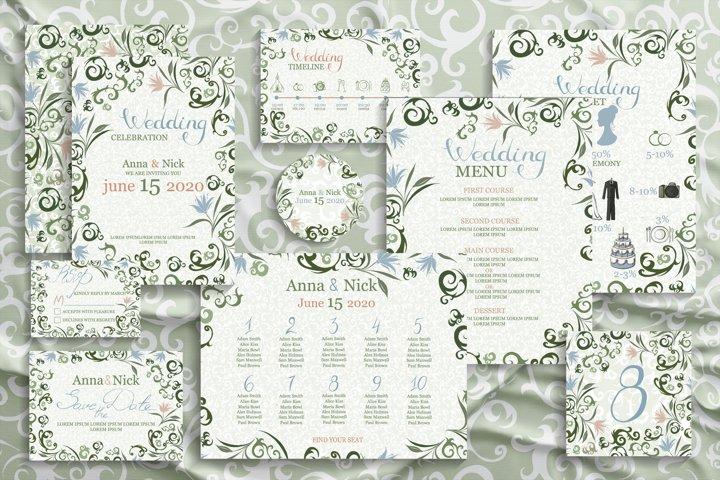Green Wedding Invitation Cards. Vector