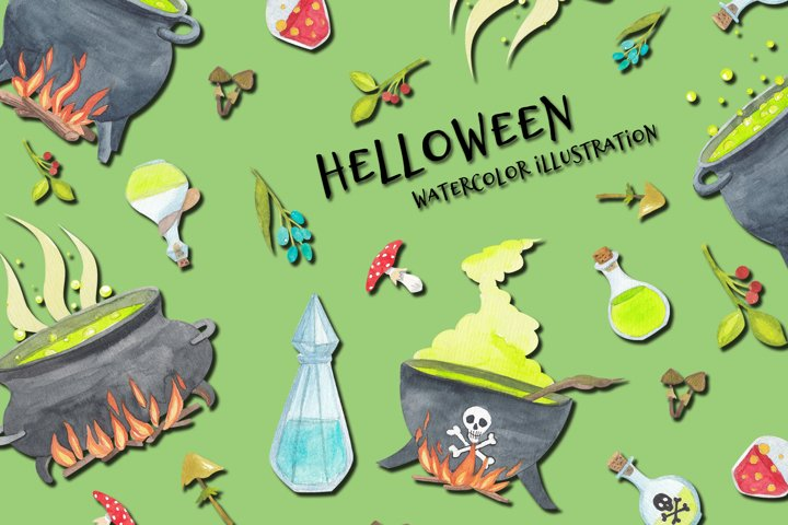 watercolor halloween set, witch attributes. Stickers pack