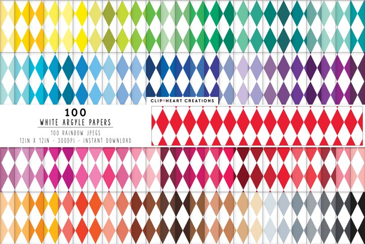 100 White Argyle Digital Papers - rainbow colors 12 x 12in