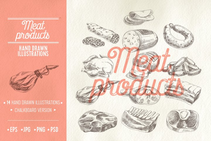 Vector hand drawn meat products illustrations