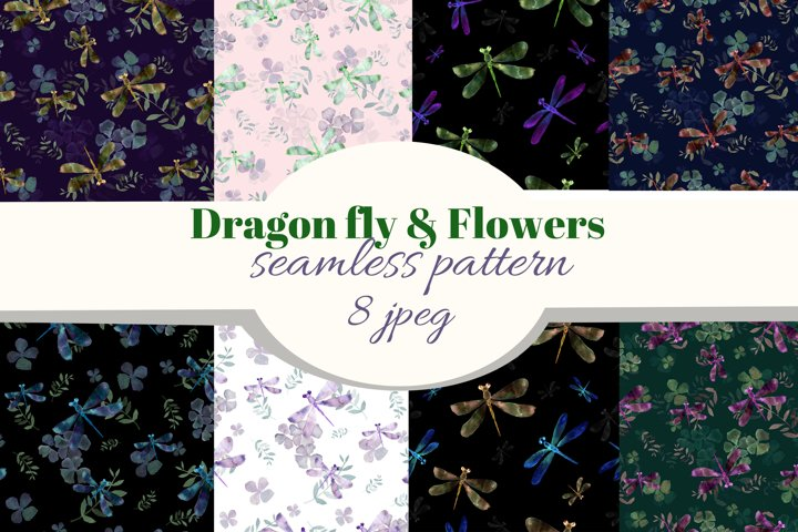 Dragonfly & Flowers decorative watercolor seamless patterns