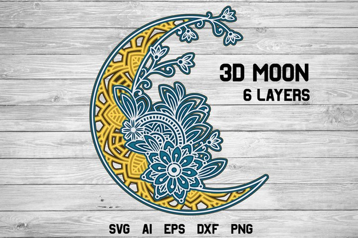3d Layered Moon  Multi Layer Crescent Moon SVG Cut File