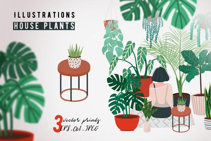House plants print. Crazy plant lady