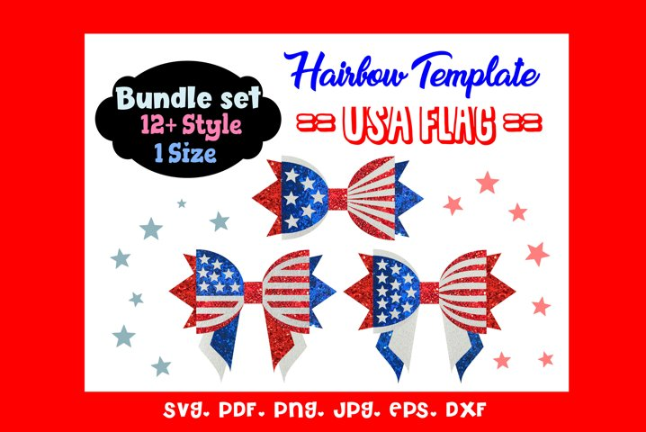 USA Flag - Twelve 12 Style & 1 Size Hair Bow Template Bundle