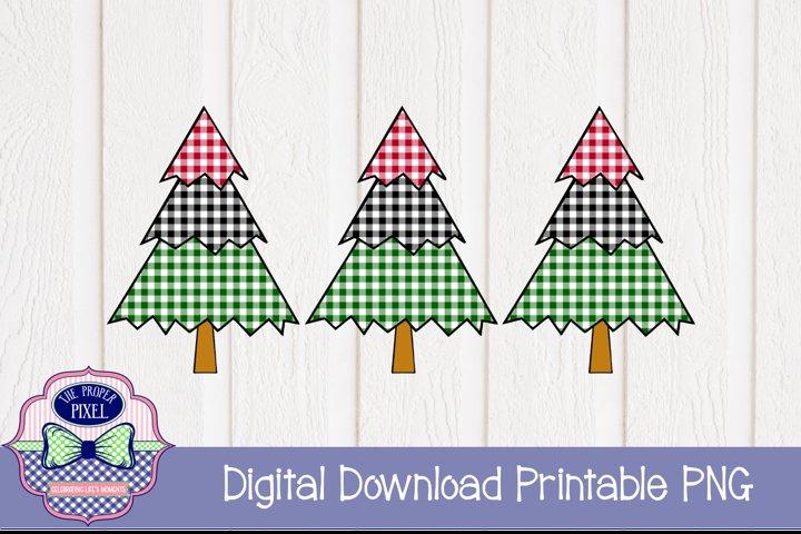 Tree Design Buffalo Plaid Christmas Sublimation Printable