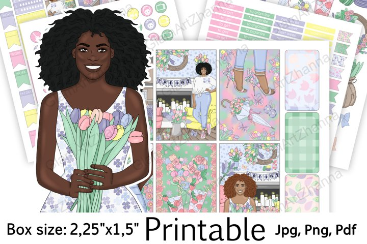 African American Spring Printable Sticker BoxSize 2,25x1,5