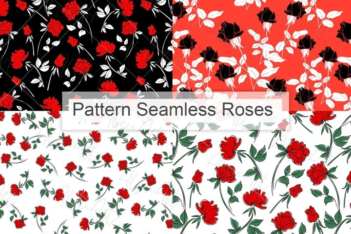 Red rose flowers pattern seamless
