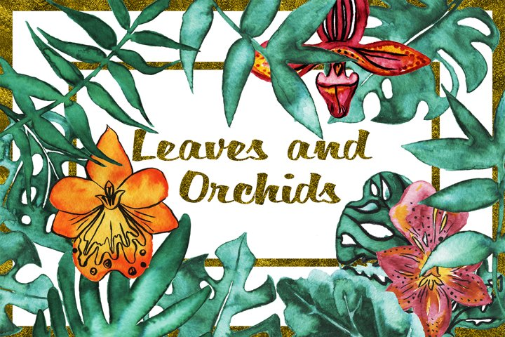 Palm leaves and orchids clip art