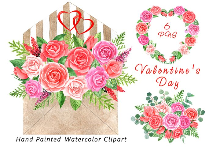 Watercolor love clipart. Envelope with watercolor flowers.