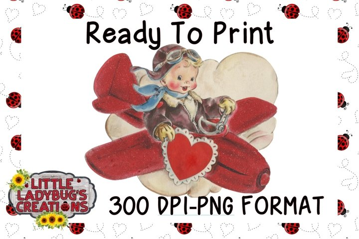 Vintage Flyboy 300DPI PNG Printable Digital Design
