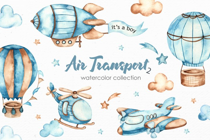 Air transport 2. Watercolor clipart