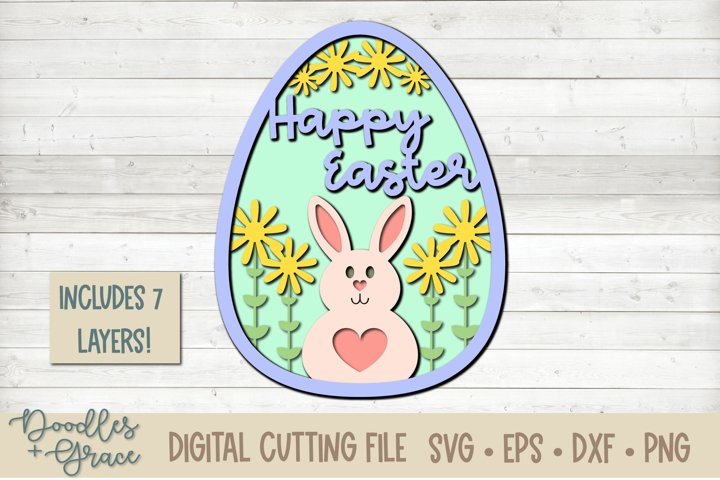 Layered Happy Easter Egg Cutting File - SVG - PNG - EPS - DX