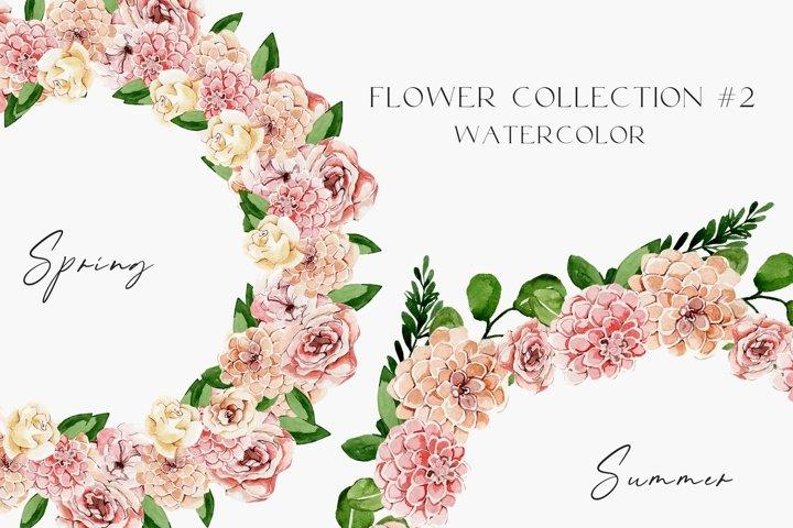Spring watercolor floral set png