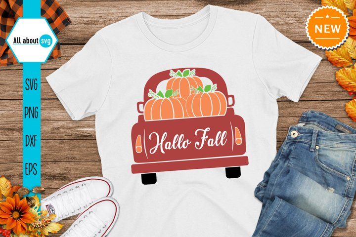 Hallo Fall Truck With Pumpkins Svg