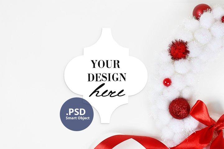 Arabesque ornament mockup, Christmas Lantern tile mockup PSD