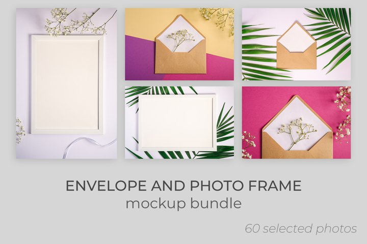 Envelope and photo frame mockups