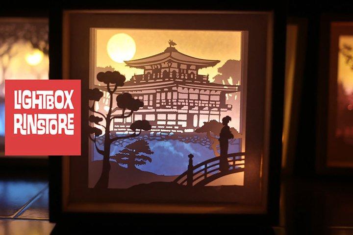 #76 Kinkaku Temple- Paper cut light box template, die cut