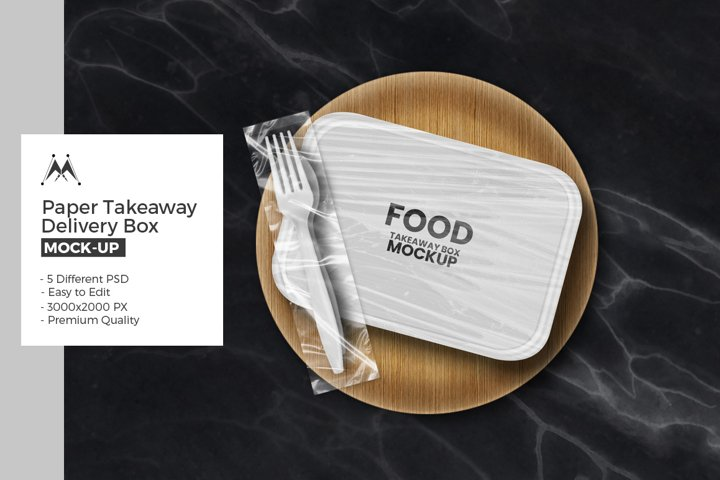 Paper Food Delivery Box Mockup