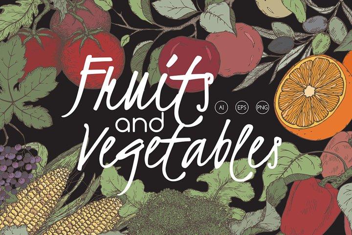 Fruits and vegetables color set