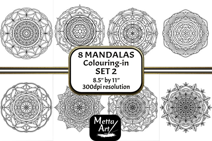 8 Mandala Set 2 - 8.5 x 11 Colouring in Pages