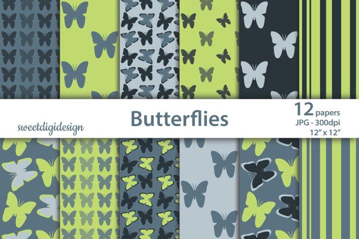 Green, gray seamless butterflies digital paper