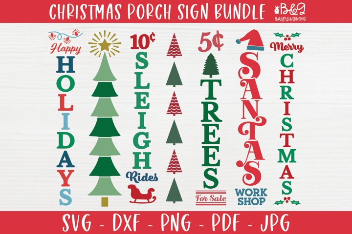 Christmas Porch Sign SVG Bundle - Holiday Vertical Signs