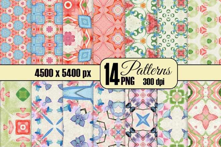 Soft Cottage Style 14 Seamless Watercolor Patterns