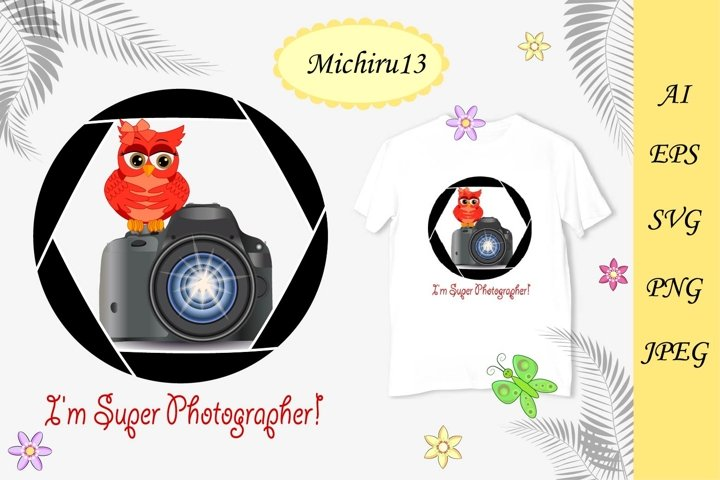 Cute red owl with a camera sits on a photo camera