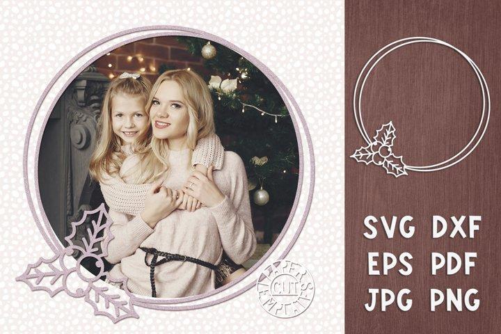 SVG Christmas Wreath Holly for Cricut, laser cut, Silhouette