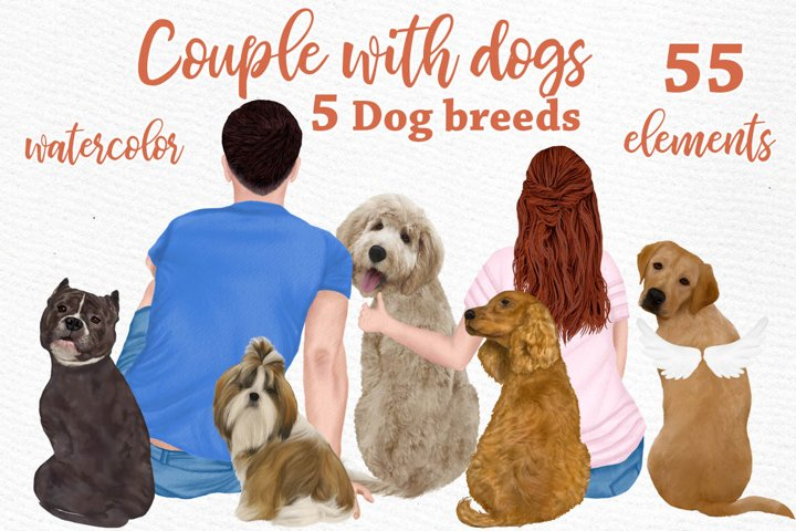People with dogs, dogs clipart,Dog breeds, Couple clipart