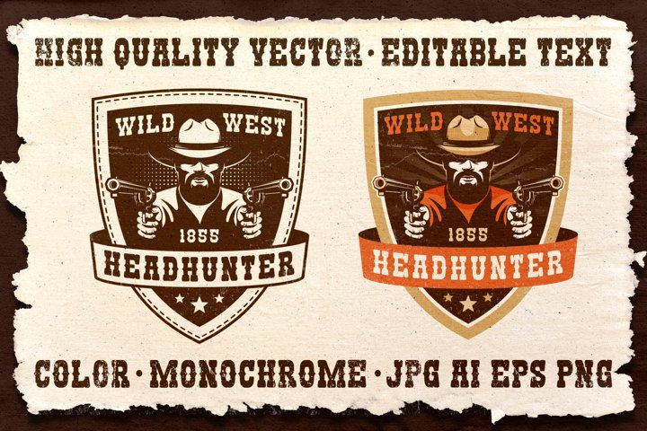 Cowboy Western Headhunter Badge