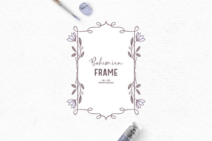 Hand-drawn flower frame clipart | Vintage blue label clipart
