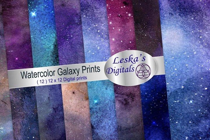 Watercolor Galaxy Digital Prints - Digital Papers
