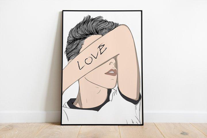 Wall Art,Man showing love