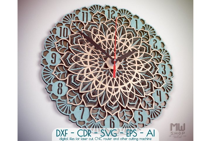 C22 - Wall Clock for Laser cut, Mandala Clock DXF pattern