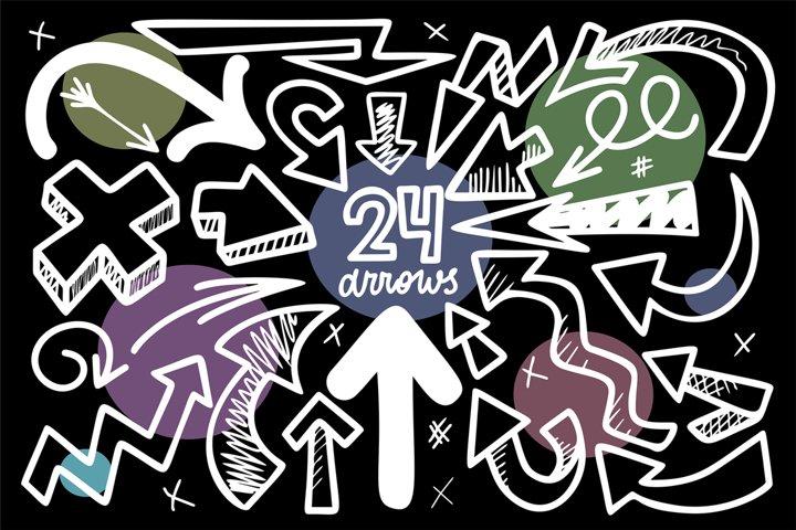 24 Monocrome Sketched Arrows