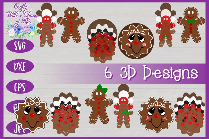 3D Layered Gingerbread Man SVG | 3D Christmas Design