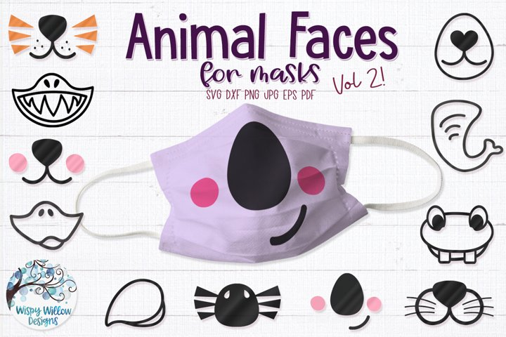 Animal Faces for Masks SVG Cut Files Vol. 2