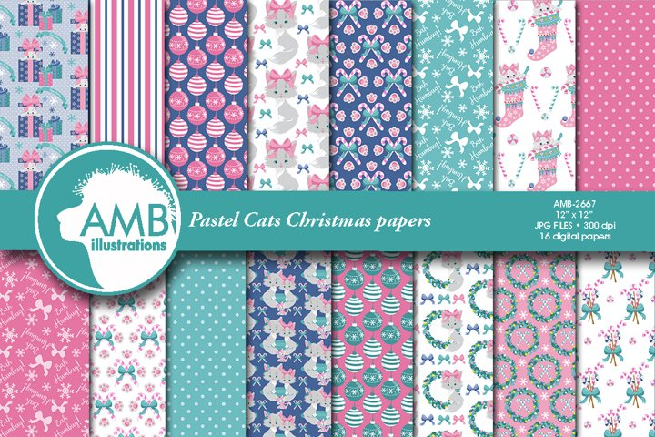 Pastel Christmas Cats Patterns AMB-2667